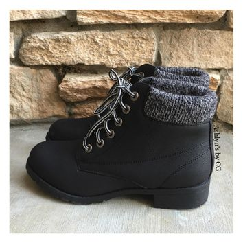 """Bucket List"" Pepper Trim Black Bootie Boots, Ankle Boots"