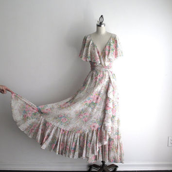 Vintage Authentic Oscar De La Renta Long Floral Dress