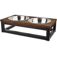 Harmony Elevated Wood and Steel Double Diner, 3 Cup | Petco Store