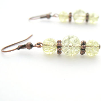 Crackle Glass Earrings - Pale Yellow & Copper Colors