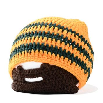 Knitted Helmet Beanies With Wig Beard Halloween Face Mask