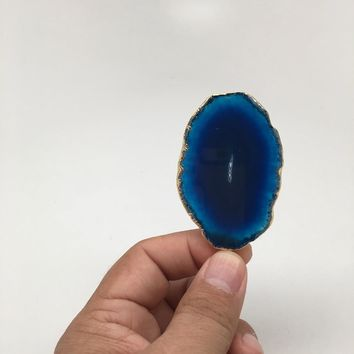 84 cts Blue Agate Druzy Slice Geode Pendant Gold Plated From Brazil, Bp1058