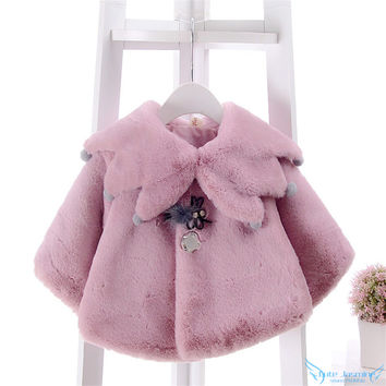 Winter Baby Girls Princess Faux Fur Coat Wrap Toddler Kids Girls Bolero For Wedding&Party Brand Next Children Outwear Clothing