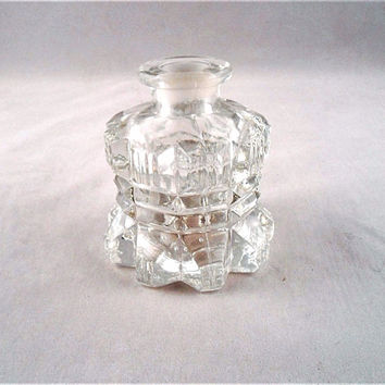 "Vintage Antique Small Clear Glass Inkwell/ Inkstand 3"" Depth/ Height/ Diameter"