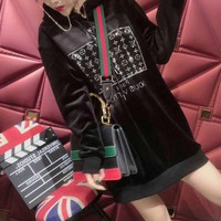 louis vuitton women casual fashion velvet rhinestone letter long sleeve hoodie sweater pullover tops