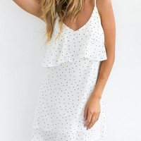 Break A Sweat White Ruffled Polka Dots Dress