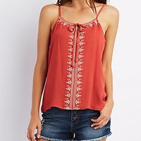 EMBROIDERED TIE-NECK TOP