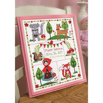 "Little Red Riding Hood Birth Record Counted Cross Stitch Kit-10""X13"" 14 Count"