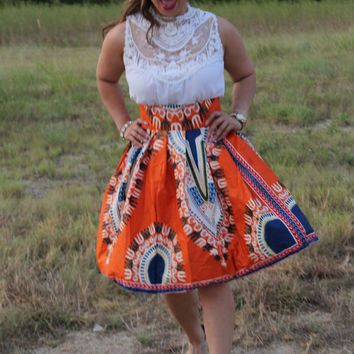 Dashiki Midi skirt, orange  skirt, African print midi skirt,  Midi skirt, Angelina skirt, ankara short skirt, high waist skirt, short skirt