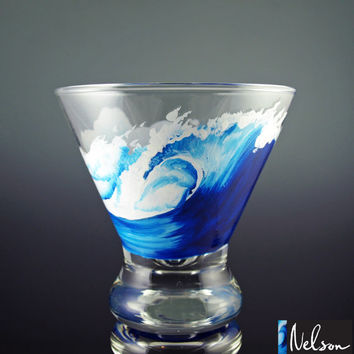 Painted Martini Glasses, Stemless Martini Glass, Wave, Beach, Surf, Surfing, Surfboard, Hawaii, SoCal, Cocktail, Surf Art, Single Glass
