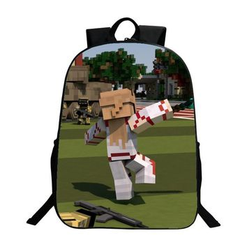 Hot Sale Polyester 16-inches Black Printing Cartoon MineCraft Tenns Boys Backpack for Women Schoolbag Kids School Bags Children