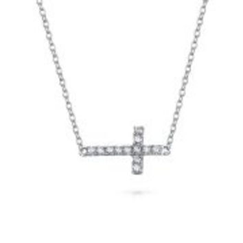 Bling Jewelry Sterling Silver Religious CZ Sideways Cross Necklace 16in