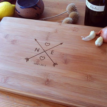 Crossing Arrows Custom Engraved Cutting Board / Wood Chopping Block Personalized Bamboo Cutting Board Unique Wedding, Couple, Hostess Gift