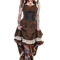 Banned Long Black Brown Stripe Steampunk Vintage Victorian Corset Dress