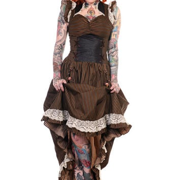 Victorian Steampunk Long Black Brown Stripe Vintage Victorian Corset Maxi Gown Dress