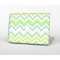 The Vibrant Green Vintage Chevron Pattern Skin Set for the Apple MacBook Air 11""