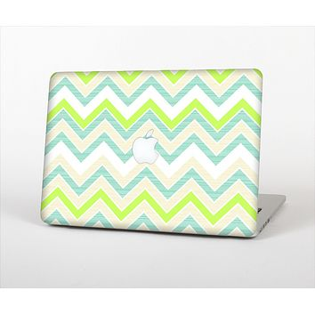 The Vibrant Green Vintage Chevron Pattern Skin Set for the Apple MacBook Air 13""