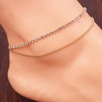Jewelry Sexy Gift New Arrival Ladies Shiny Cute Stylish Simple Design Accessory Double-layered Tassels Anklet [8527530631]