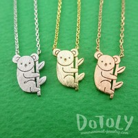 Adorable Koala Bear Shaped Silhouette Charm Necklace