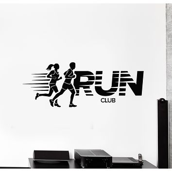 Vinyl Wall Decal Runners Run Club Word Jogging Running Sport Stickers Mural (g914)