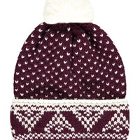 Arrow-Patterned Pom Beanie