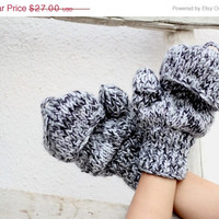 ON SALE Handwarmers in Black - White - Grey Gloves-Mittens-Winter Fashion-Holiday Accessory-Woolen-Full Gloves,Gift for her.