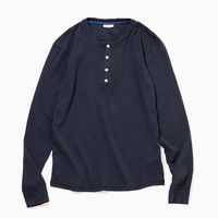 "Schiesser シーサー ""Shirt 1/1 Button Tape"" (White / Indigo / Khaki) - ONLINE STORE"