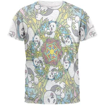 LMFCY8 Mandala Trippy Stained Glass Panda Mens T Shirt