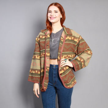 90s BLANKET COAT / Native Inspired Spring Fall Jacket, s-m