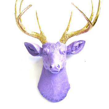 Faux Taxidermy Deer Head Wall Mount Home Decor: Deerman the Deer Head wall hanging purple/medium lavender with gold antlers