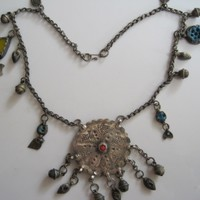 Vintage Middle East Bedouin Silver Charm Protective Necklace