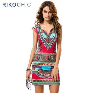 Vintage Retro Print Women Ethnic Dashiki Boho Dress Summer Bohemian African Cap Sleeve Sheath Bodycon Mini Dresses Female C190