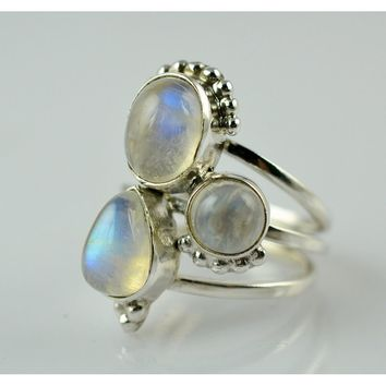Womens Rainbow Moonstone Ring 925 Sterling Silver Handmade Ring