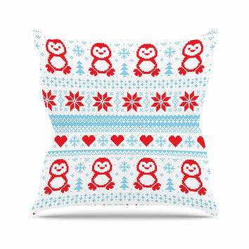 "KESS Original ""Pixel Penguin Holiday"" Christmas Pattern Outdoor Throw Pillow"