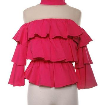 Layered Off Shoulder Ruffle  Top