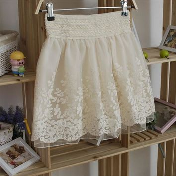 Spring Summer Sweet Women's Elastic Waist Lace Embroidered organza Skirts Korean Style Women's Retro Princess Mesh Lace Skirt