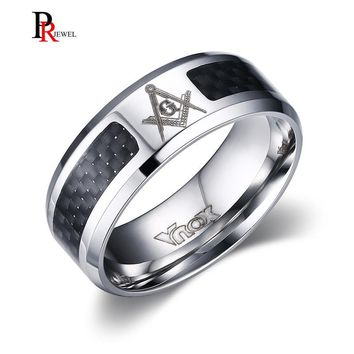 Masonic Men's Ring Stainless Steel Unique Carbon Fiber 8mm Punk Male Alliance Jewelry US Size 4 5 6 7 8 9 10 11 12
