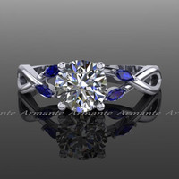 Moissanite Engagement Ring Natural Blue Sapphires Leaves Marquise Engagement Ring 14k White Gold Round Moissanite Ring Re00160s
