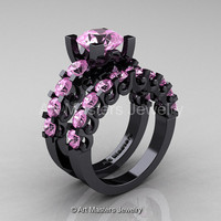 Modern Vintage 14K Black Gold 3.0 Ct Light Pink Sapphire Designer Wedding Ring Bridal Set R142S-14KBGLPS