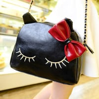 Kawaii Lolita Harajuku Bowknot Kitty Shoulder Bag - Black, Wine Red, Yellow or Beige from Tobi's Finds