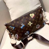 LV new retro old flower chest bag shoulder bag