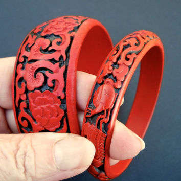 Pair Lot Two Cinnabar Bangle Bracelets, Red & Black Chinese Carved, Teapot-Floral, Vintage