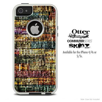 The Abstract Dark Colored Wood Planks Skin For The iPhone 4-4s or 5-5s Otterbox Commuter Case
