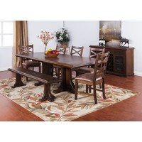 Sunny Designs Savannah Collection Eight Piece Dining Set In Antique Charcoal