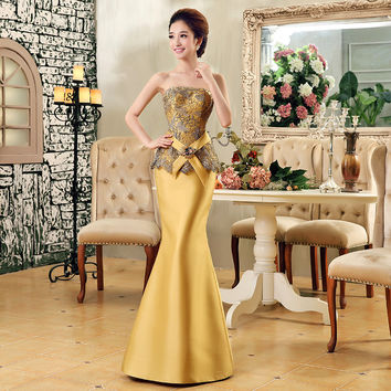 2016 new arrival luxury elegant gold lace crystal mermaid fish tail thick satin floor-length long women formal evening dress