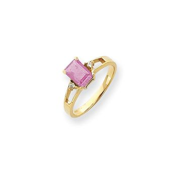 0.04 Ct  14k Yellow Gold 7x5mm Emerald Cut Pink Tourmaline Diamond Ring I1 Clarity and G/I Color