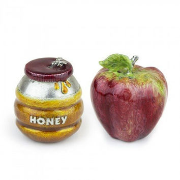 Quest Collection Pewter Honey Container and Apple Salt and Pepper Shaker Set
