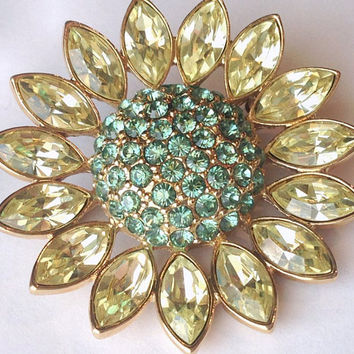 Signed Givenchy Flower Brooch, Vintage Goldtone Pin with Aqua & Pale Yellow Rhinestones