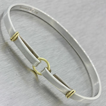 Tiffany & Co Vintage 925 Silver 18k Solid Yellow White Gold Bangle Bracelet