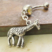 Giraffe Belly Button Ring Belly Jewlery by MidnightsMojo on Etsy